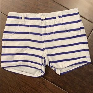 Old Navy 12 Linen Chino Shorts White Blue Stripes